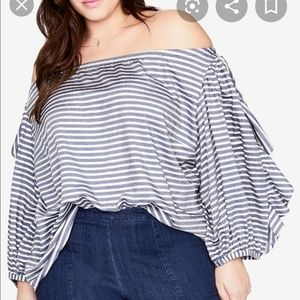 Rachel Roy Striped Off Shoulder Blouse
